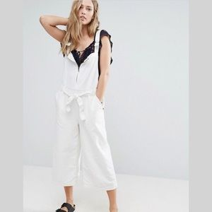 Free People Wide Leg Canvas Jumpsuit in Ivory